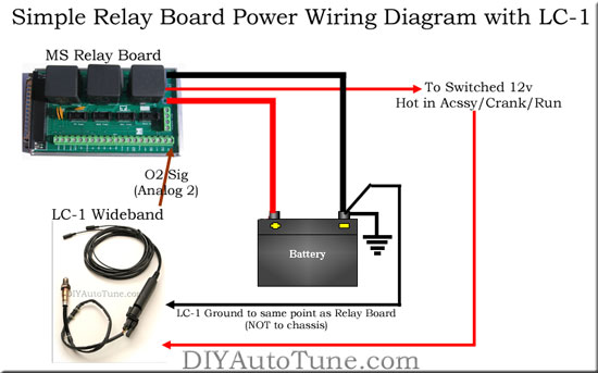 Simple MegaSquirt Relay Board Power Diagram with LC-1 Wiring