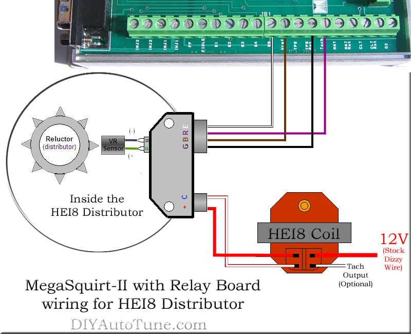 MegaSquirt-II with Relay Board and HEI8 Distributor Wiring Diagram