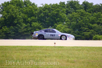 Car on course on the 202mph record run