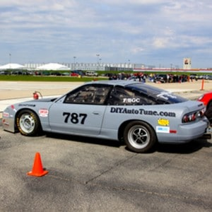 DIYAutoTune / Jerry Hoffmann's land speed racing 240sx at the line for the Ohio Mile 2013