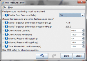 MS3Pro Fuel Pressure Safety settings