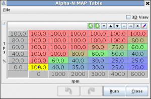Substitute MAP sensor table