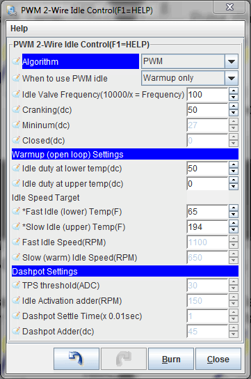 MS1 warmup settings