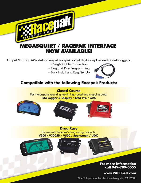 MegaSquirt EMS and the RacePak Line of Digital Dashes and