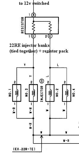 "how to megasquirt your toyota 22re diyautotune com and each ""bank"" can control up to 10 injectors as such we could have wired 32 33 to ""10"" and ""20"" respectively and leave a spare bank on megasquirt"